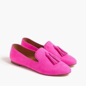 Faux Suede Smoking Loafers with Tassles